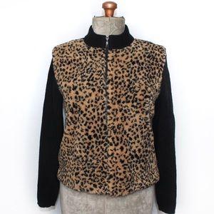 Parkhurst Black Cheetah Print Fuzzy Sweater Med